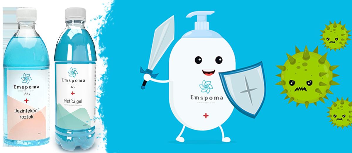 Dezinfekčné a antimikrobiálne prostriedky EMSPOMA